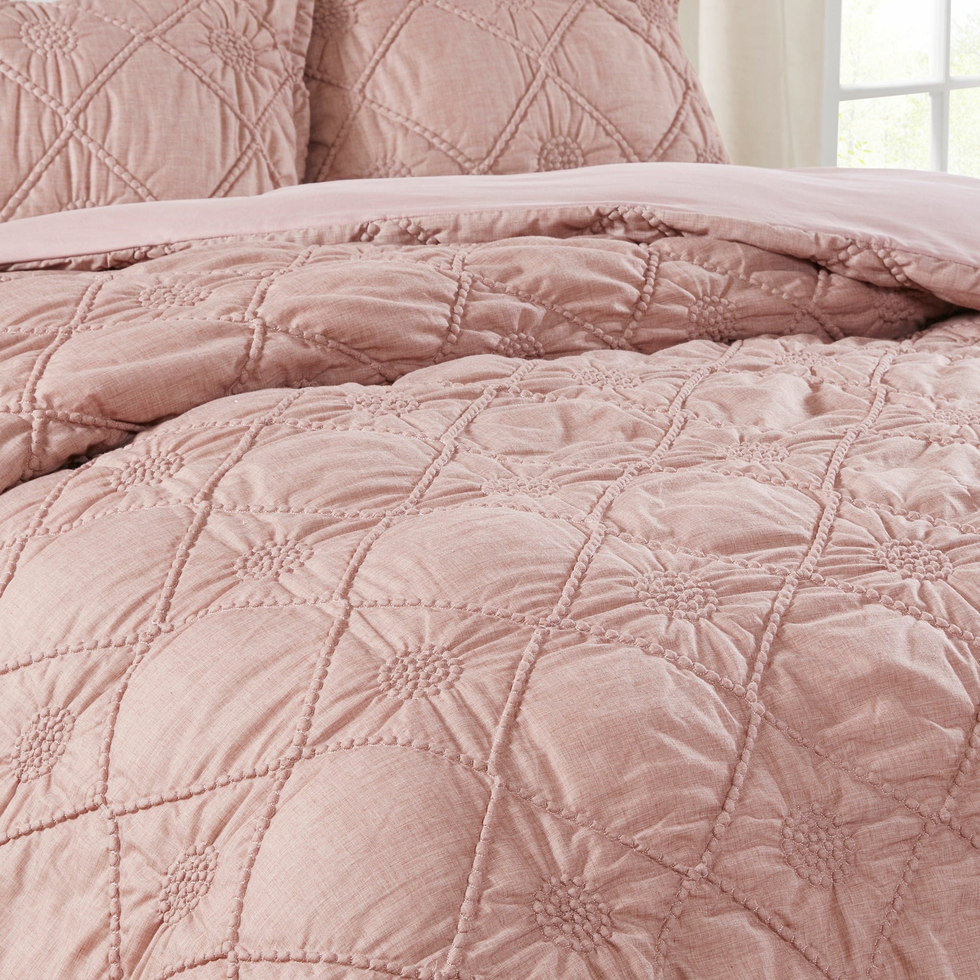 Madison Park Sisley Dusty Rose 3 Piece Ruched Rosette Comforter Set On Sale Overstock 28065385
