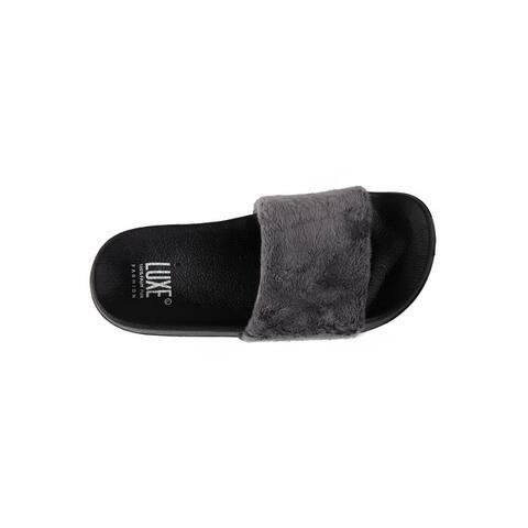 Faux Sheepskin Slides - Grey w/Black Sole - Size 5/6