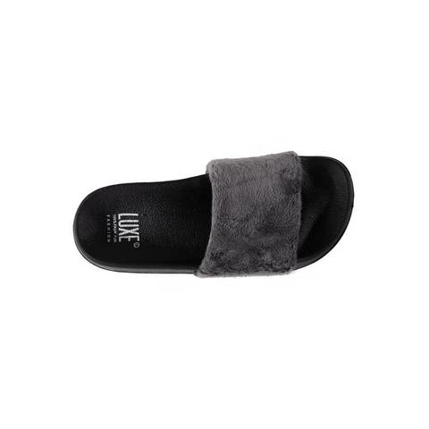 Faux Sheepskin Slides - Grey w/Black Sole - Size 9/10