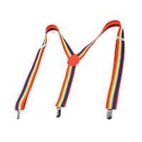 Unique Bargains 3 Metal Clip Adjustable Elastic Y Shape Rainbow Suspenders for Man