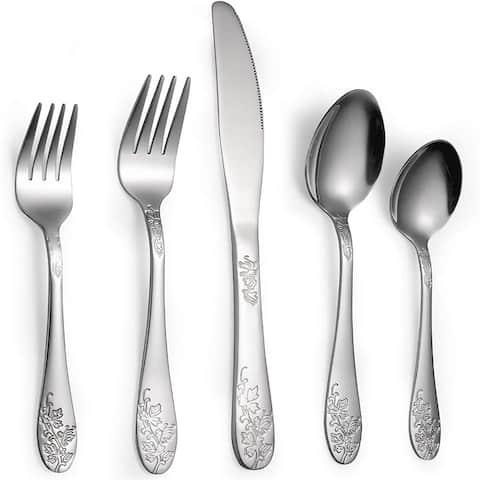 40-Piece Silverware Flatware Set for 8, Stainless Steel Silverware Flatware Cutlery Set,Mirror Finished, Dishwasher Safe