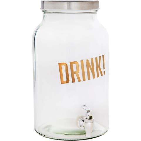 Palais Glassware High Quality 'Bossoin' Beverage Dispenser - 1.5 Gallon Capacity - (DRINK! Gold Print)