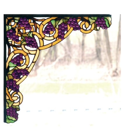 Meyda Tiffany 67141 Stained Glass Tiffany Window from the Grapes Collection - Mahogany Bronze - n/a