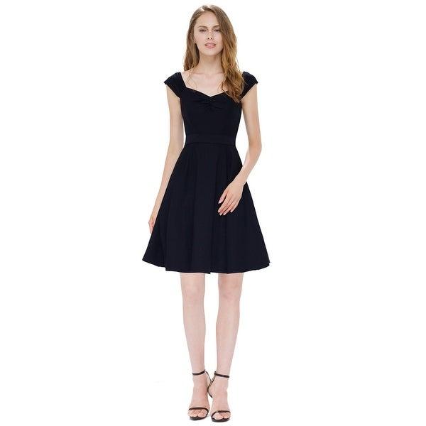 cc155ea9dbc13 Shop Chic Little Black A Line Sleeveless Cap Sleeves Skater Dress ...