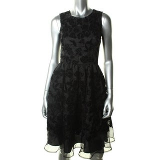 French Connection Womens Embroidered Velvet Cocktail Dress - 0