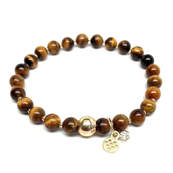 """Brown Tiger's Eye Lily 7"""" Bracelet"""