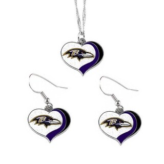 Baltimore Ravens NFL Glitter Heart Necklace and Earring Set Charm Gift