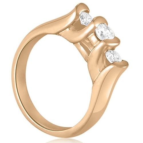 1.00 cttw. 14K Rose Gold Three-Stone Bezel Round Cut Diamond Engagement Ring