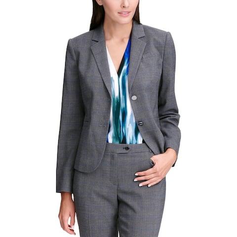 Calvin Klein Womens Two-Button Blazer Plaid Office Wear