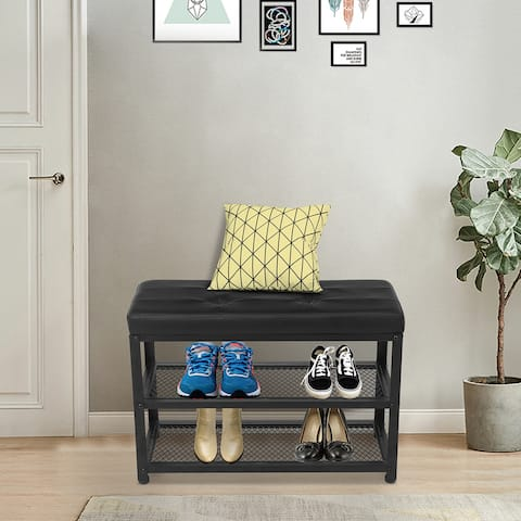 Entryway Shoe Rack with Cushioned Seat, 3-Tier Shoe Organizer,Blcak