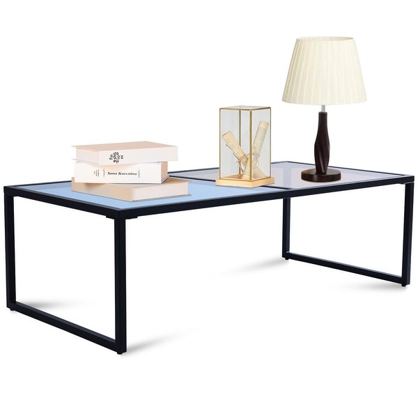 Shop Costway Rectangular Coffee Table Tempered Glass Top
