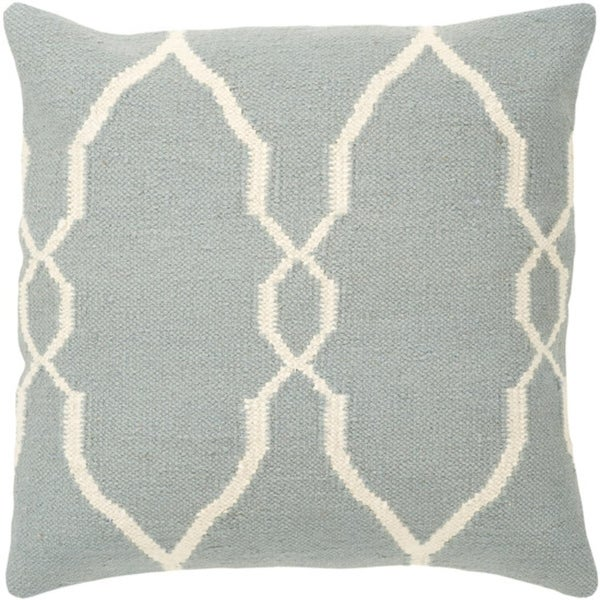 "22"" Slate Blue and Papyrus White Moroccan Decorative Throw Pillow"