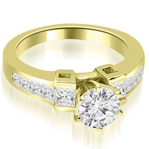 1.75 cttw. 14K Yellow Gold Channel Diamond Princess and Round Engagement Ring