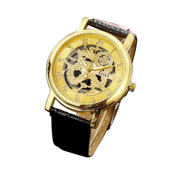Faux Black Leather Gold Tone Classic Watch