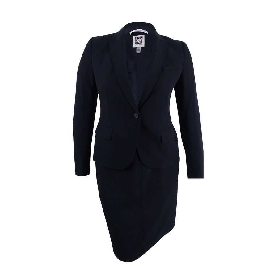 Clothing, Shoes & Accessories Anne Klein Womens Blue Silk Skirt Suit Size 8
