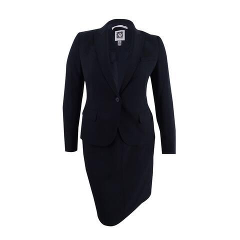 Anne Klein Women's Single-Button A-Line Skirt Suit (2, Black) - Black - 2
