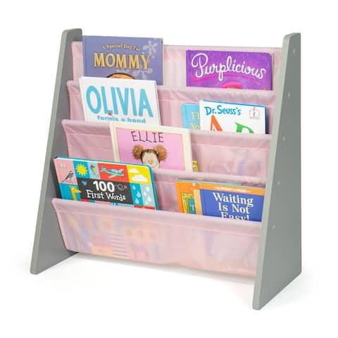 Humble Crew Kids Bookshelf 4 Tier Book Organizer, Pink/Grey