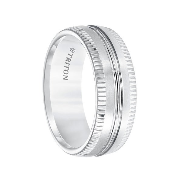 White Tungsten Satin Finished Men's Wedding Band with Polished Center Groove & Coin Edge Sides by Triton Rings - 8mm