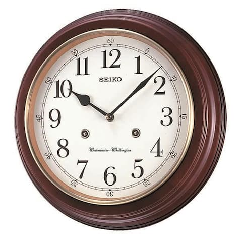 "Seiko 12"" Wood Grain Finish Wall Clock with Dual Quarter Hour Chimes"