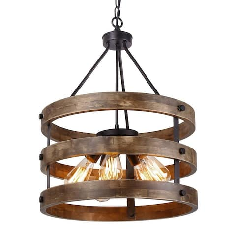 5 light vintage industrial rustic wood chandelier, circular pendant lamp light
