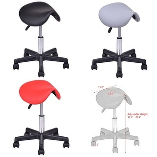 Costway Adjustable Saddle Salon Stool Hydraulic Rolling Chair Massage Tattoo Facial Spa
