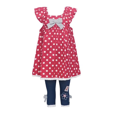 ecbf7a3265f Bonnie Jean Little Girls Red Polka Dot Flutter Sleeve 2 Pc Pant Outfit