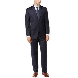 Calvin Klein Regular Fit Navy Blue Striped Wool Suit 42 Long 42L Pants 36W
