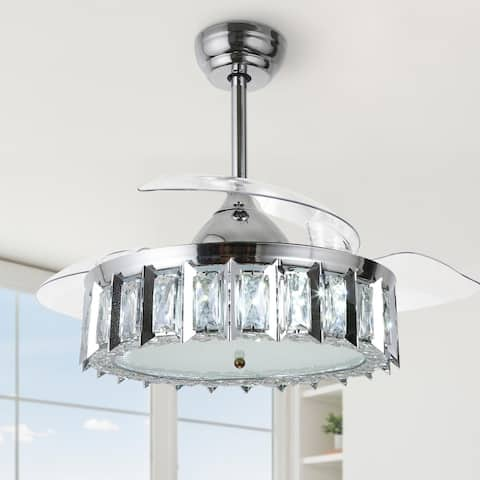 """42"""" Dimmable Retractable ceiling fan with LED light and Remote"""