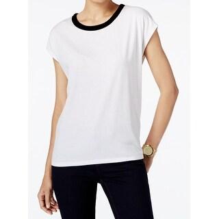 Michael Kors NEW White Women's Size Medium M Velvet Trim Dolman Blouse
