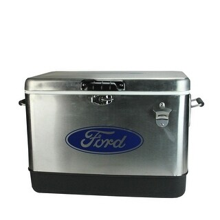 "Officially Licensed Staineless Steel ""Ford"" 54 Quart Cooler"