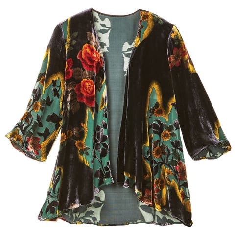 Women's Victorian Garden Black Velvet Fashion Jacket - 3/4 Sleeves
