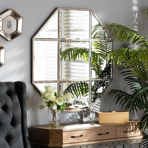 Enora Antique Bronze Finished Metal Geometric Accent Wall Mirror - Bronze/Gold