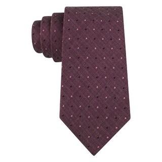 Calvin Klein CK Purple Heather Plaid Berry Dot Slim Silk Blend Tie Necktie