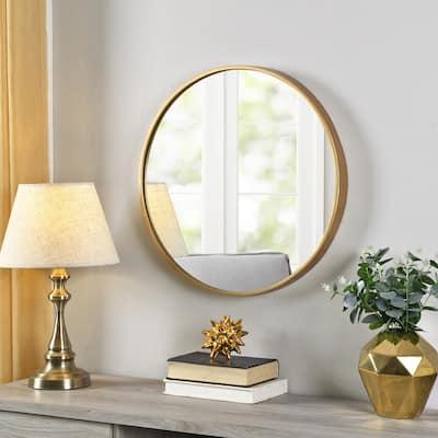 Gold Beckham Round Mirror, American Crafted, Gold, Mirror, 22 x 1.75 x 22 in