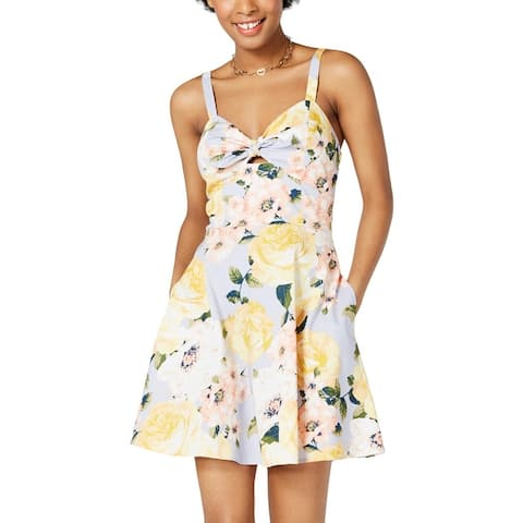 Speechless Womens Juniors Mini Dress Sleeveless Floral - Grey/Yellow