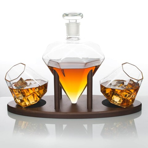 Atterstone Diamond Decanter Set with Custom Mahogany Decanter Stand, Whiskey Glasses, and Whiskey Soap Stones