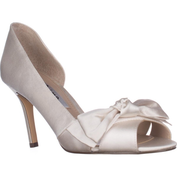 Nina Forbes2 Peep-Toe D'Orsay Dress Pumps, Ivory