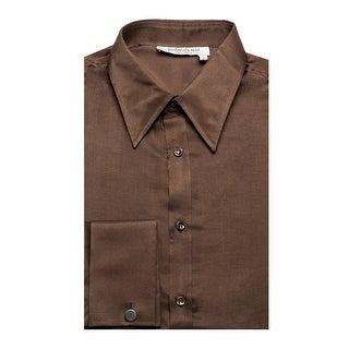 Yves Saint Laurent Men's Cotton Point Collar Dress Shirt Brown