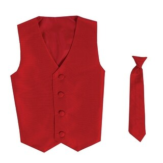 Baby Boys Red Poly Silk Vest Necktie Special Occasion Set 3-24M