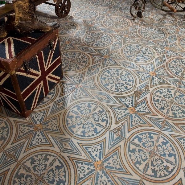 "SomerTile Kings Flatlands Encaustic 17.63"" x 17.63"" Ceramic Floor and Wall Tile. Opens flyout."