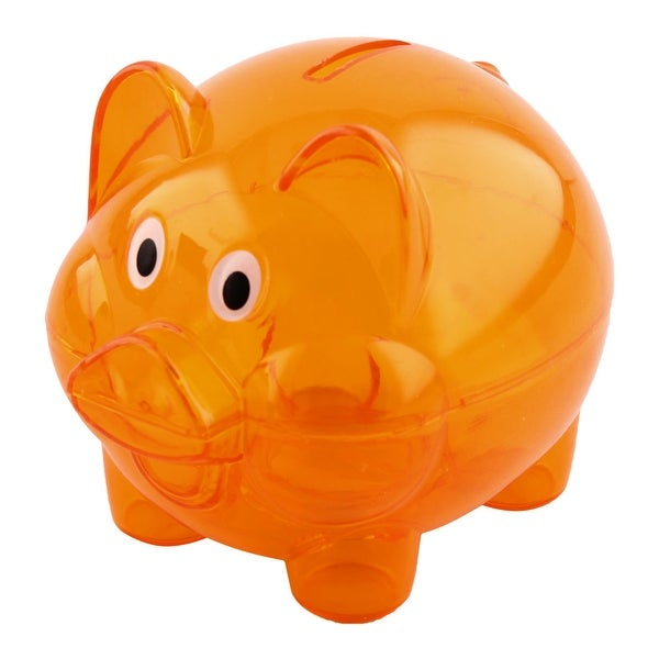 Home Plastic Pig Shape Money Saving Holder Coin Storage Pot Piggy Bank Orange