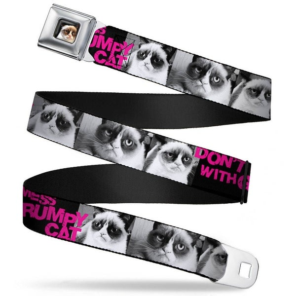 Grumpy Cat Face Full Color Black Don't Mess With Grumpy Cat Poses Black Seatbelt Belt