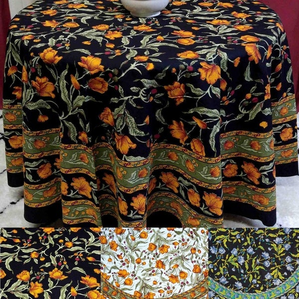 Beautiful Handmade 100% Cotton French Floral Print Tablecloth 60 Inches  U0026amp; 72 Inch U0026amp