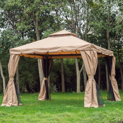 Outsunny 10' x 10' Outdoor Garden Gazebo Sunshade Canopy Tent with Mesh Sidewalls