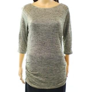 INC NEW Gold Women's Size Medium M Zipper-Trim Shimmer Ruched Blouse