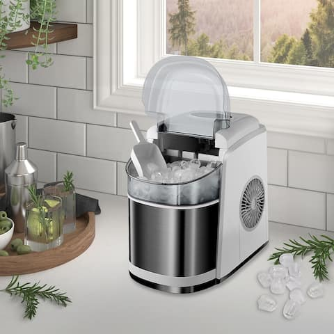 Portable Ice Maker Countertop - 9 Ice Cubes Ready in 6 Mins - Makes 26 lbs Ice in 24 hrs
