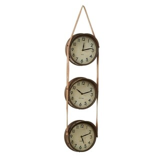35 Rusted Brown and Ivory White Time Zone Wall Clock with Faux Leather Strap