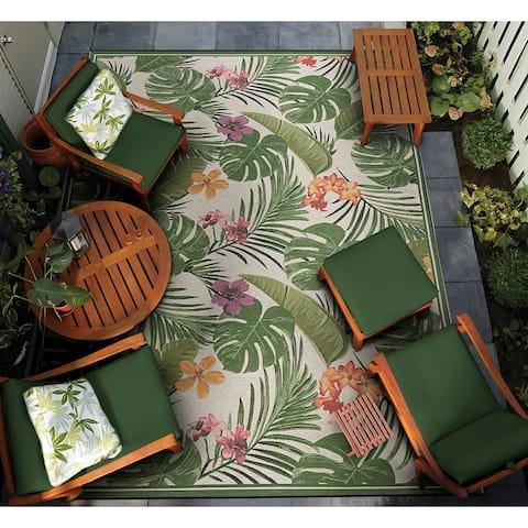 Gelato Royal Fern Ivory-Green Indoor/ Outdoor Area Rug
