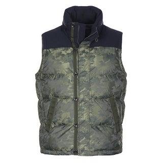 Tommy Hilfiger Sherwood Hooded Vest Large Olive Green Camouflage Down Fill