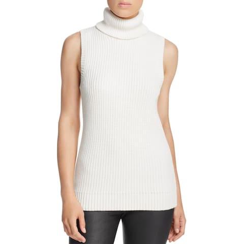 Michael Kors Womens Turtleneck Sweater Ribbed Sleeveless